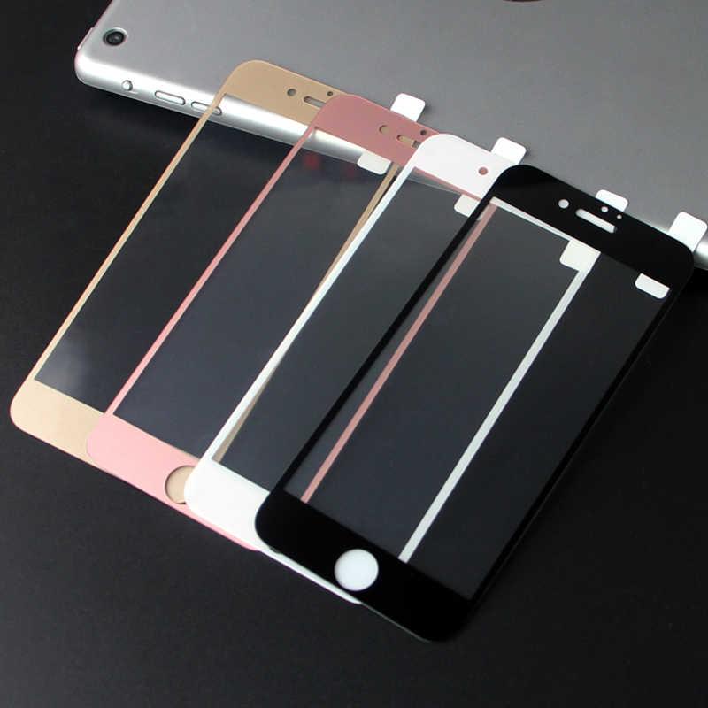 שחור לבן עלה זהב 9H מלא כיסוי מזג זכוכית מסך מגן עבור iPhone 6 6s 7 8 בתוספת 8 בתוספת SE 2020 X XR XS 11 Pro מקסימום
