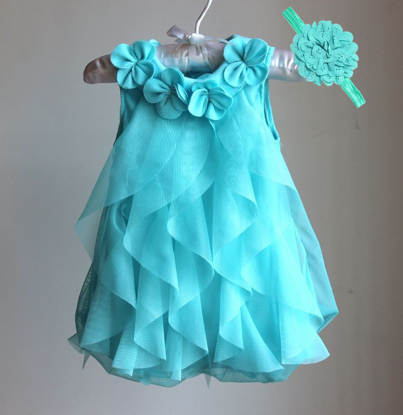 Girls Dress 2017 Sommar Chiffon Party Dress Spädbarn 1 År Födelsedagsklänning Baby Girl Clothes Dresses & Headband Vestidos