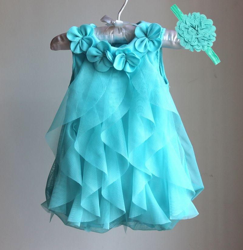 Vestido de las niñas 2017 Verano vestido de fiesta de gasa infantil 1 año vestido de cumpleaños de la niña ropa Vestidos y diadema Vestidos