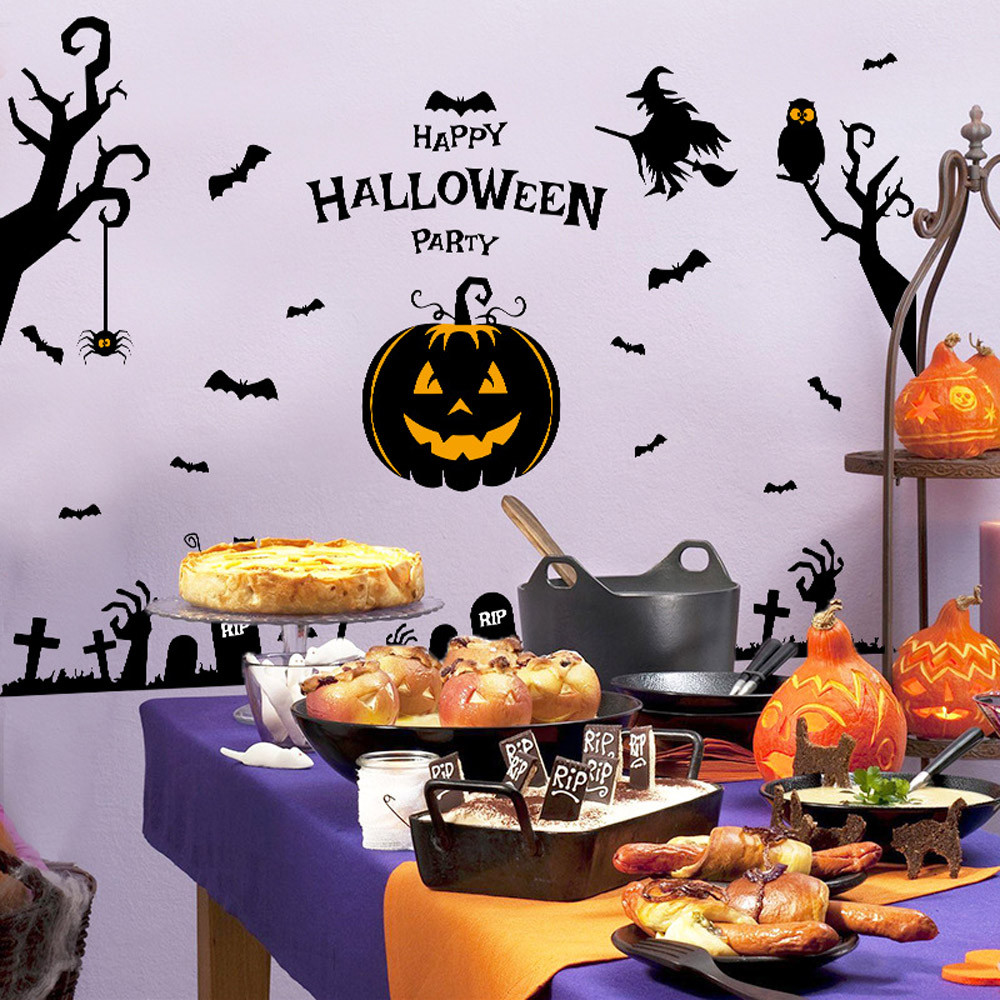 Home Decor PVC Festival Decor Halloween Witch Pumpkin Wall Sticker Party Home Decor wall sticker Home Deco mirror AU7