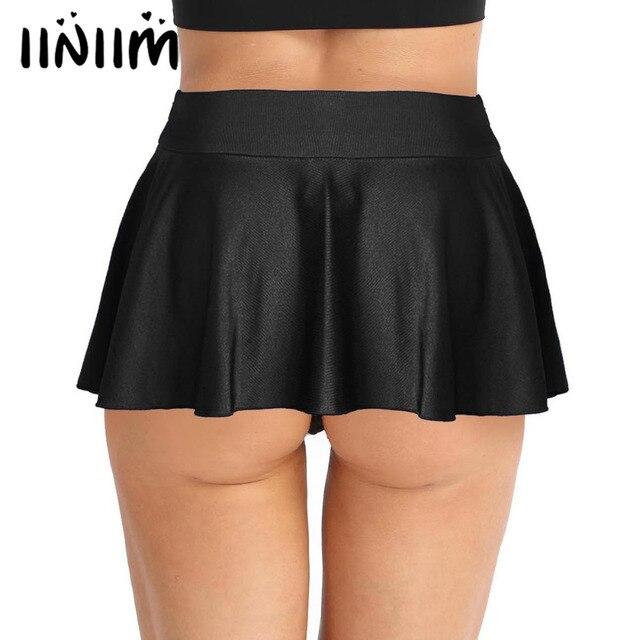 823307b0b € 8.64 30% de DESCUENTO|Moda mujeres Sexy Clubwear minifalda elástico  activo Mini Shorts con pantalones cortos interiores cubierto ligero faldas  ...