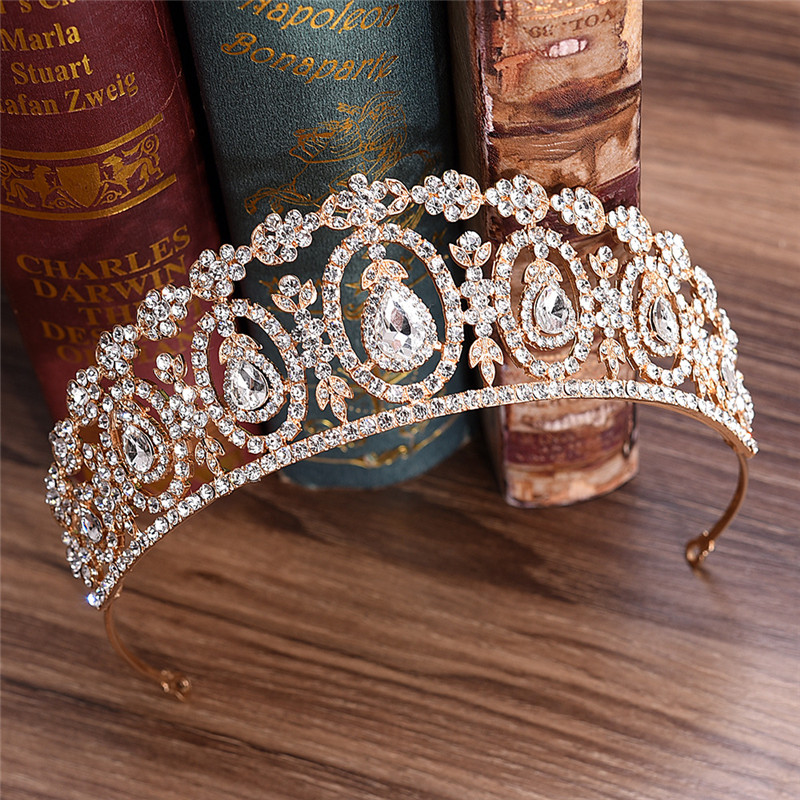 Bride Tiara Crown Half Headband Girls Hair Ornaments Female Wedding Tiaras and Crowns Prom Princess Diadem Jewelry