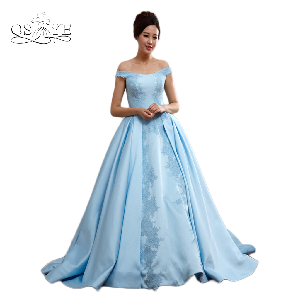 Blue Elegant Off The Shoulder Long Prom Dresses 2017 Robe