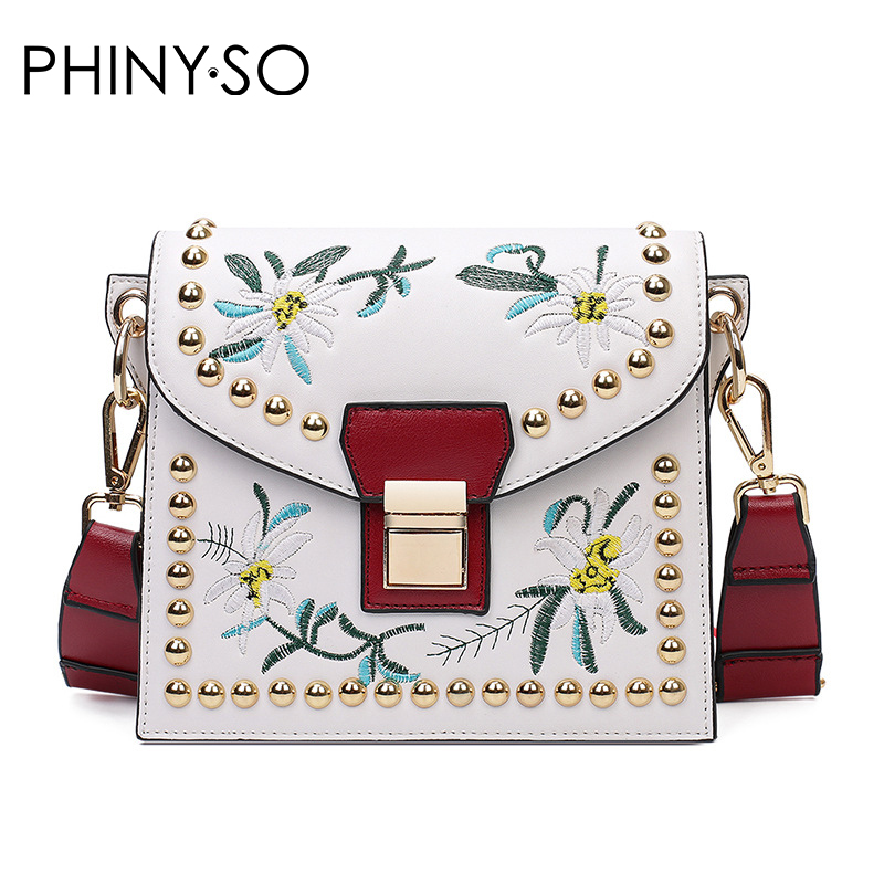 Fashion National style Lady women bags casual shoulder bag Messenger Bags rivet handbag floral embroidery Cross body
