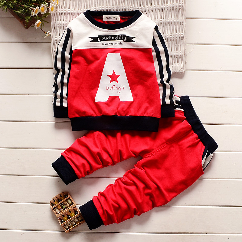 The boys sweater suit Hitz Korean baby cotton long sleeved two sets of childrens sports suit for children