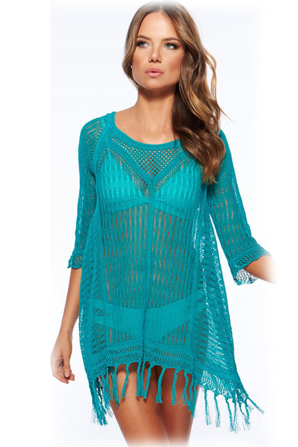 e6f88609b8 Summer Beach Style Bohemian New Sexy Women Beach Dress Women Beach Wear  Sexy Cool Fringe Crochet Beachwear 41113-in Dresses from Women s Clothing  on ...