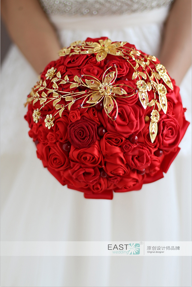 Wedding Bouquet Bride Holding Flowers New Arrival Red Gold Rose S DIY Bridal Bridesmaid Bouquets In From Weddings
