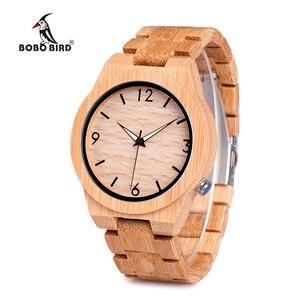 Image 5 - ボボ鳥メンズ腕時計木製竹クォーツ男性腕時計発光手とフル竹バンドギフトボックス時計