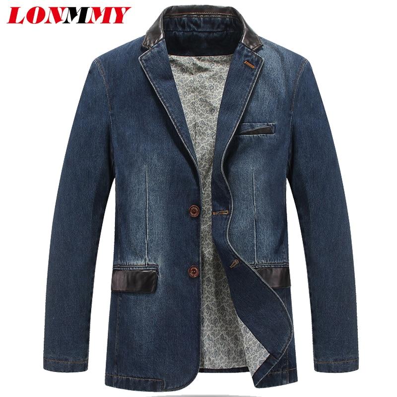 LONMMY M 4XL Cowboy blazer jeans jas mannen jaqueta Katoen PU leer stiksels Bovenkleding Denim jasje mannen blazer Pakken voor mannen-in Blazers van Mannenkleding op  Groep 1