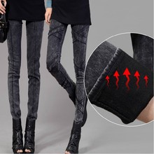 Стиральная черный сексуальная женщин джинсы зима теплая руно 2015 модные женские джинсы тонкий карандаш тощий denim Свободный Корабль