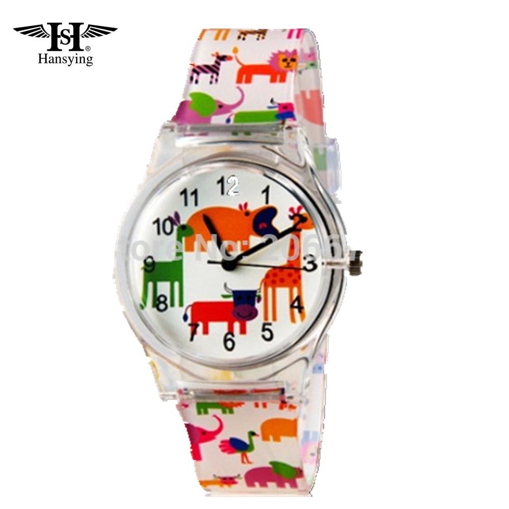 Hansying Cartoon Animals Pattern Design Moda femeie îmbrăcăminte Rezistenta la apa Analog încheietura cuarț ceas de ceas doamne ceas gratuit de transport maritim