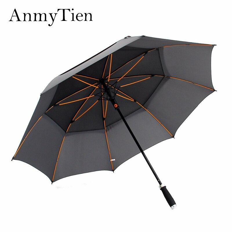 Noir Golf grand parapluie étanche femmes hommes pluie Guarda Chuva fort coupe-vent mâle femelle automatique grand parapluie pluie Gear