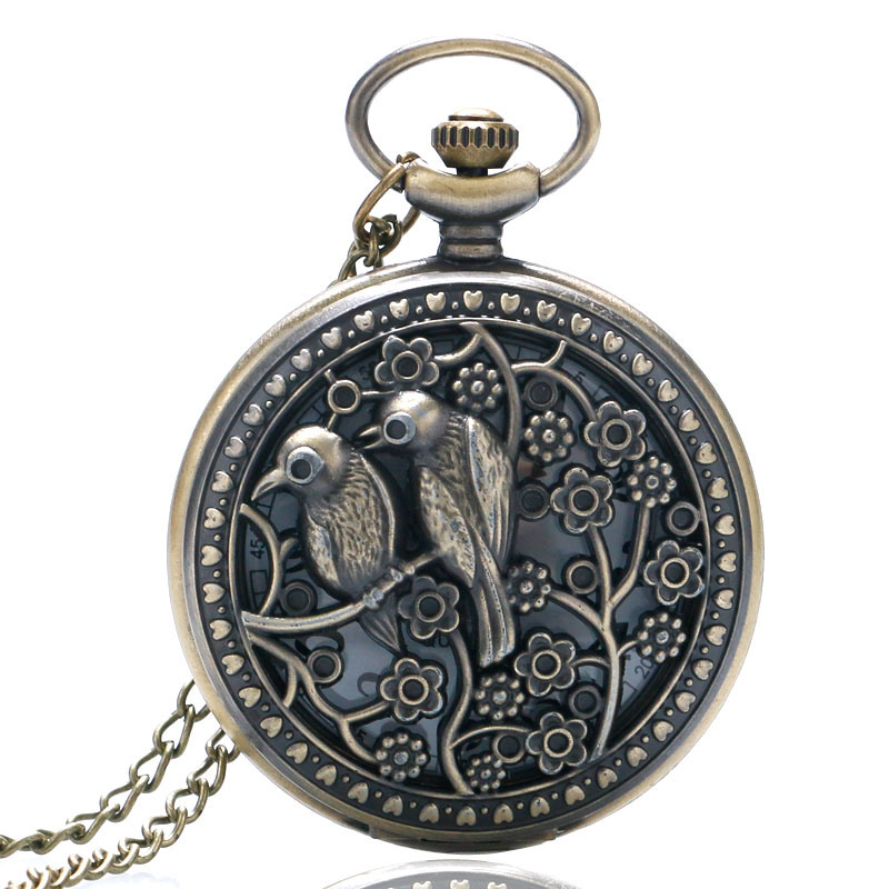 Lovely Bird Hollow Quartz Pocket Watches for Women Girl Retro Vintage Clock Necklace Pendant Fob Watch Ladies Best Gifts
