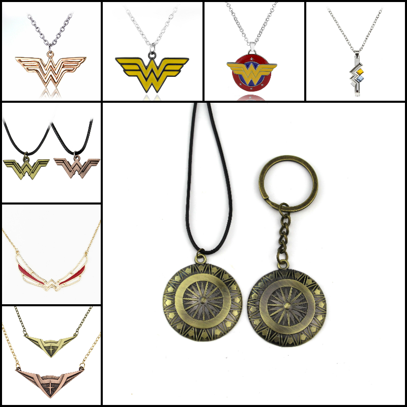 10styl Wonder Woman Necklace Movie Justice League Cool Shield Pendant Fashion Rope Chain Necklaces Women Men Charm Gifts Jewelry ...