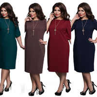 L-6XL Large Size 2019 Summer Dress Big Size Printed Dress Blue Red Green Straight Dresses Plus Size Women Clothing Vestidos
