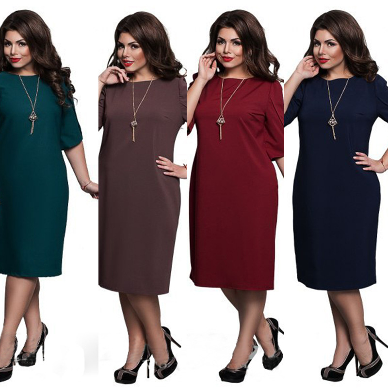 L-6XL Large Size 2020 Spring Dress Big Size Casual Dress Blue Red Green Straight Dresses Plus Size Women Clothing Vestidos