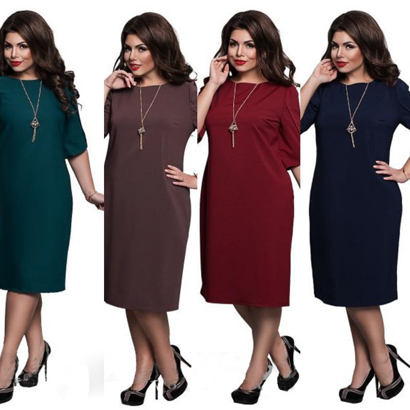 L-6XL tamanho grande 2020 vestido de primavera tamanho grande vestido casual azul vermelho verde vestidos retos plus size roupas femininas