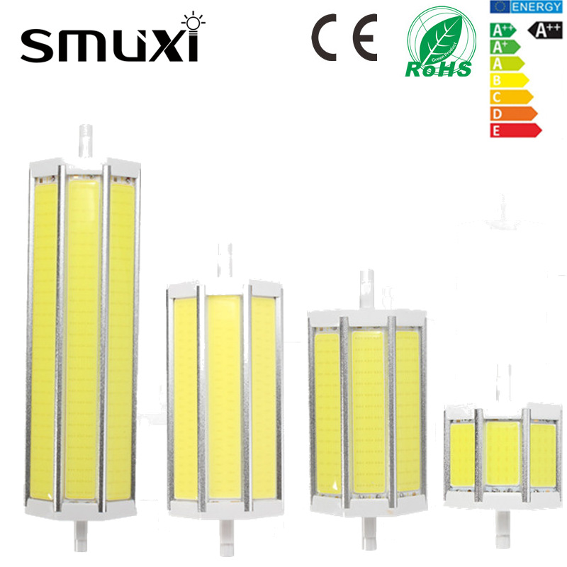 Smuxi Dimmable R7S COB SMD LED Floodlight Spot Corn Light Bulb Lamp 10/15/20/25W Pure Warm White 78/118/135/189mm AC85-265V g9 5w dimmable 27 smd 5050 led corn light bulb lamp color temperature pure white 6000 6500k amount 8 pcs