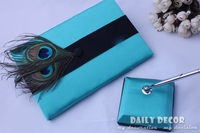 2015 wedding guest book + wedding signature pen + pen holder set new blue registration of marriage suit with peacock feather