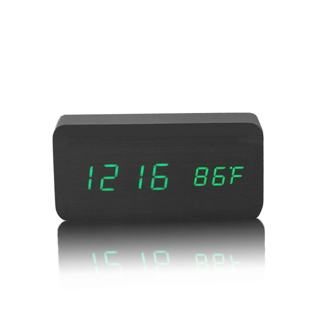 Best High End Alarm Clocks Thermometer Wood Wooden Led Digital Voice Table Clock