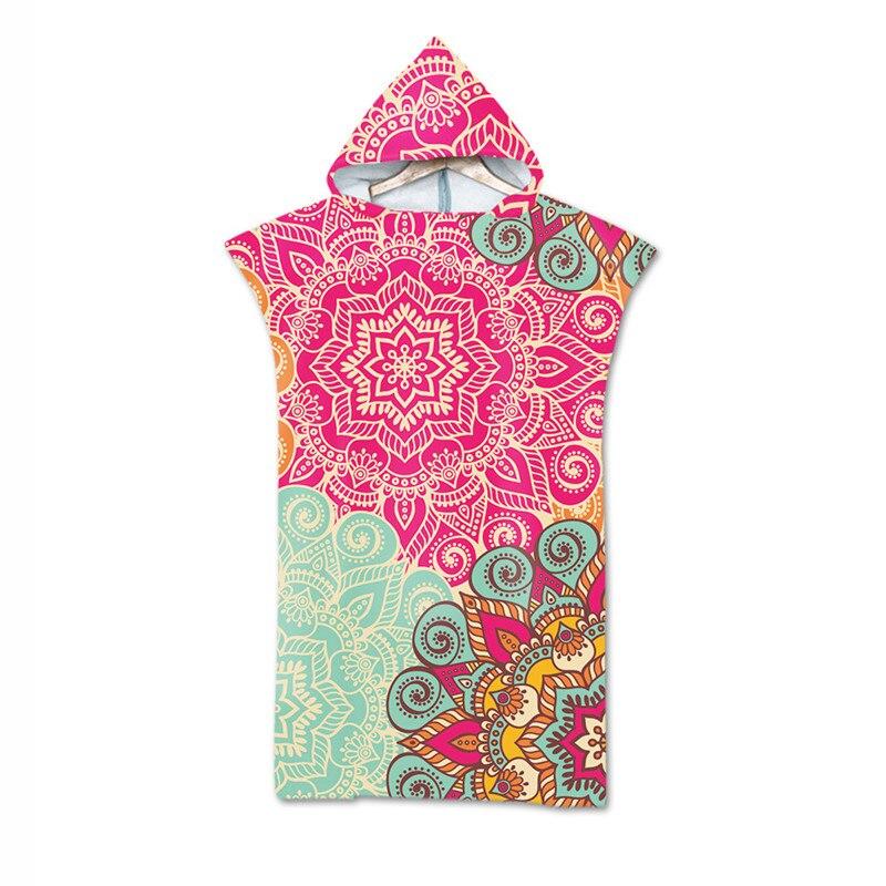 Microfiber Hooded Bath Towel Cloak for Adults Women Bathrobe Bohemian Printed Swimming Beach Towels Surf Poncho Beachwear toalla