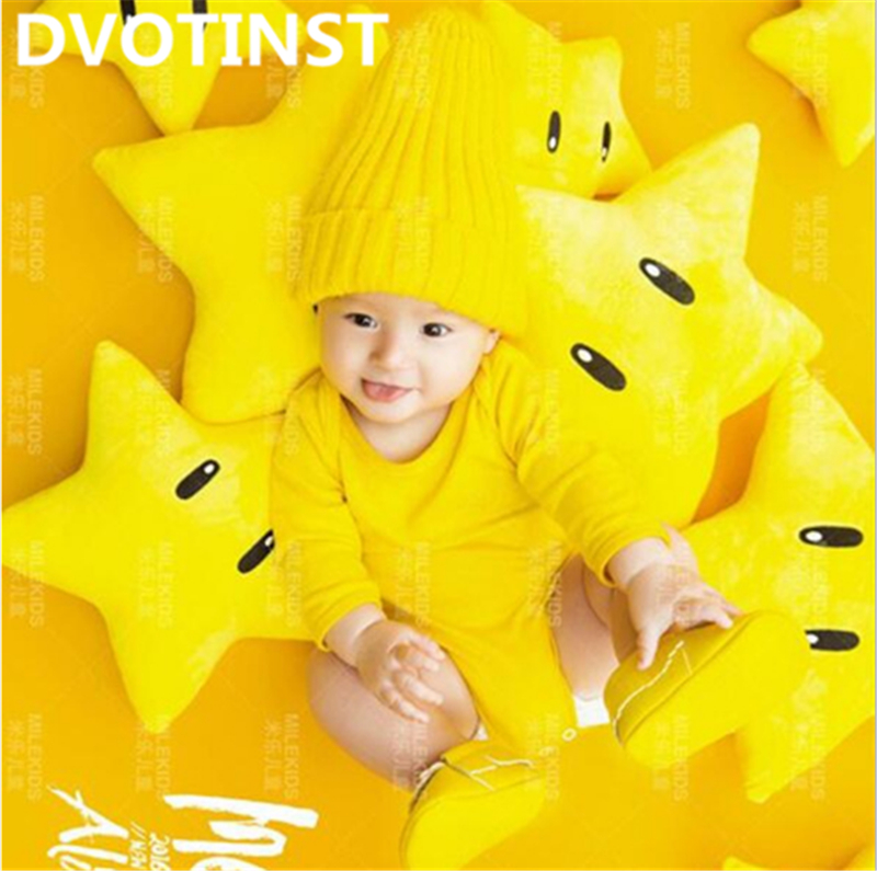 Dvotinst Newborn Baby Photography Props Yellow Stars Theme Background Costume Set Fotografia Accessory Studio Shoot Photo Props newborn photography props crochet costume set baby boy knit bib pants studio photography clothing mohair baby gift photo shoot