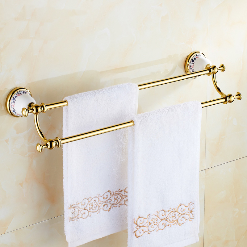 Where To Put Towel Bars In Bathroom: Art Copper Bathroom Double Towel Bars Rack, European