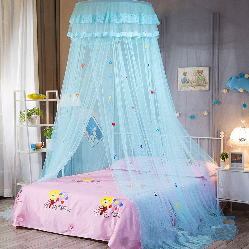 New Children Elegant Tulle Bed Dome Bed Netting Canopy Circular Pink Round Dome Bedding Mosquito Net For Twin Queen King Bed