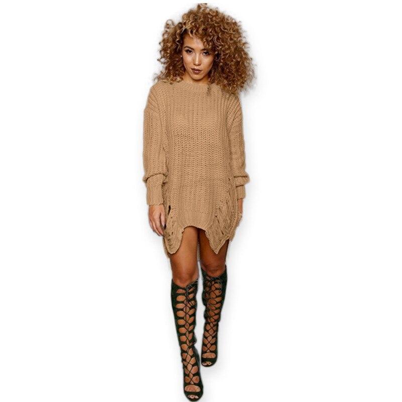 Winter Dresses Women 2016 Long Sleeve Oversized Ladies Knitted Long