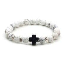 Christian Jewelry Natural Stone Hematite Cross Bracelet