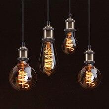 Светодиодный нити светильник в стиле ретро светодиодный лампы декоративные Эдисон лампы E27 110V 220V A60 ST64 G80 G95 G125 Винтаж накаливания светильник лампочка