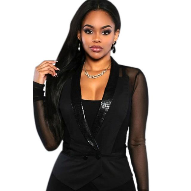 2016 Mulheres de Outono Casaco Blazer Mulheres Blazers E Jaquetas de Volta Sheer Sexy Perspectiva Legal Outwear OL Fino Terno Preto Jaquetas