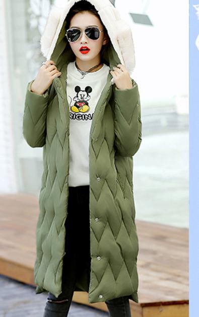 Vêtements D'hiver Capuche Femmes Grand Moyen Nouveau Manteaux Envoyer De Parkas Longueur 2018 Livraison À Cheveux army Col Green Noir qtZYwSp
