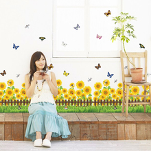 SK7060 Sunflower grass baseboard living room wall stickers home decor small flowers butterfly waterproof removable PVC