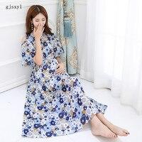 Las mujeres embarazadas vestido de Verano 2017 nuevos modelos coreanos de la manera sin tirantes floral manga corta de mediana edad las mujeres embarazadas falda marea
