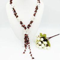 Naturstein Gold Sands Stein, Shell Blumen, Süßwasser Perle mit Jade Knebelverschluss Halskette ca. 60 cm Mode frauen Schmuck