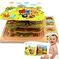 Los niños De Juguete De Madera Rompecabezas de Animales de granja juguetes educativos rompecabezas de Múltiples Capas de la tortuga y la liebre 3D Juguetes para niños CU43