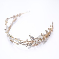 Dower me Delicate Hand wired Gold Leaf Crown Wedding Hair Tiara Accessories Floral Women Headpiece Bridal Hairband