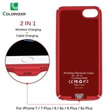 Bezprzewodowa ładowarka qi obudowa odbiornika dla iPhone 7 7 Plus 2 w 1 bezprzewodowa ładowarka i kabel pokrywa ładowania dla iPhone 6 6s Plus przypadkach