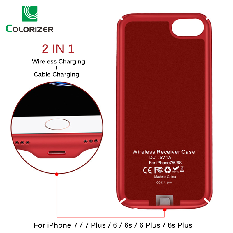 Qi Wireless Charger Receiver Case For iPhone 7 7 Plus 2 In 1 Wireless Charging & Cable Charging Cover For iPhone 6 6s Plus Cases-in Fitted Cases from Cellphones & Telecommunications