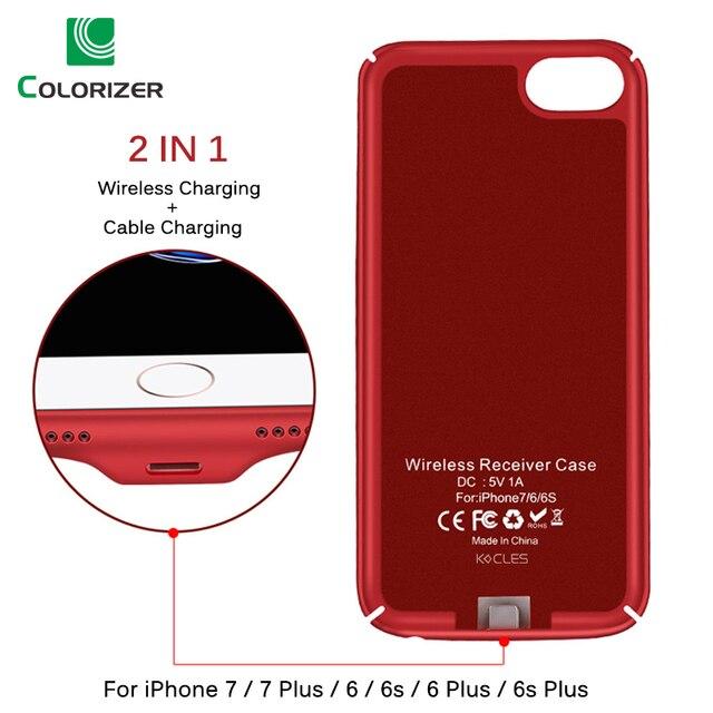 Qi Wireless Charger Receiver Case สำหรับ iPhone 7 7 Plus 2 In 1 ไร้สาย Wireless Charging & สายชาร์จสำหรับ iPhone 6 6s Plus