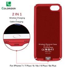 צ י מטען אלחוטי מקלט מקרה עבור iPhone 7 7 בתוספת 2 ב 1 טעינה אלחוטי & כבל טעינה כיסוי עבור iPhone 6 6s בתוספת מקרים