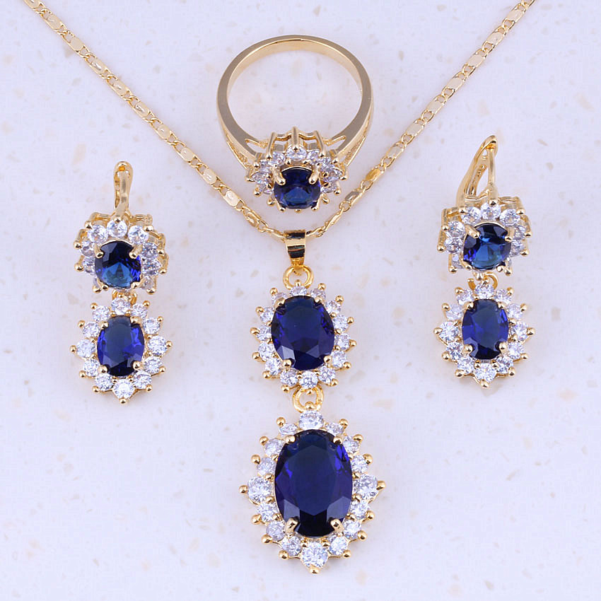 Superb Blue Crystal White CZ Zircon Yellow Gold Color Jewelry Sets Trend For Women Party Fashion Jewelry A0015