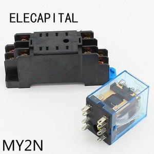 My2p hh52p my2nj relé 12vdc 24vdc 110vac 220vac bobina de alta qualidade propósito geral dpdt micro mini relé com suporte base de soquete