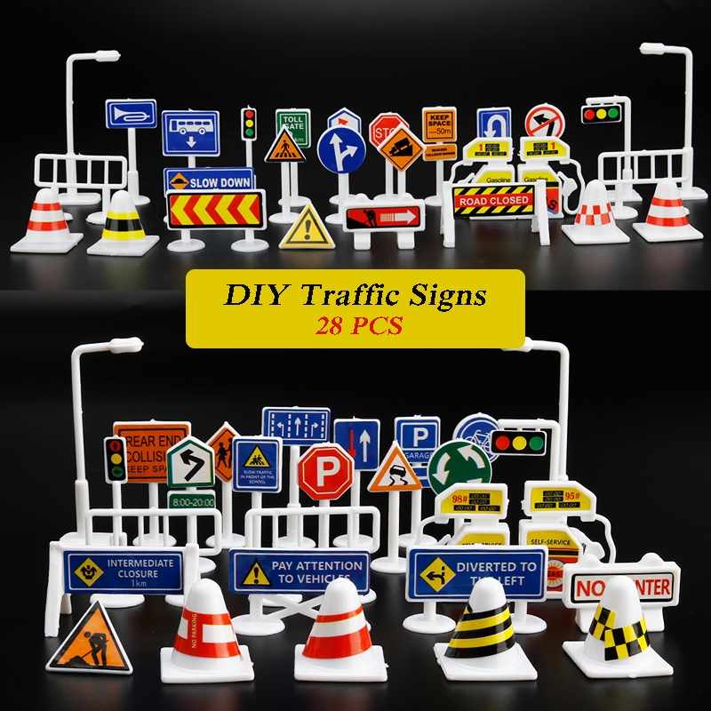 28 PCS DIY Model Scene Toy Road Sign Roadblock Traffic Sign Educational Toy Gifts For Kids Drop Shipping