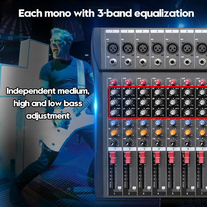 LEORY 12 canaux bluetooth numérique Microphone Console de mixage de son professionnel karaoké Audio mélangeur amplificateur avec USB - 4