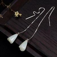 Real 925 Sterling Silver Ear Line Drop Earrings Long Hetian Jade Engraved Rose Flowers Elegant Design For Women High Quality