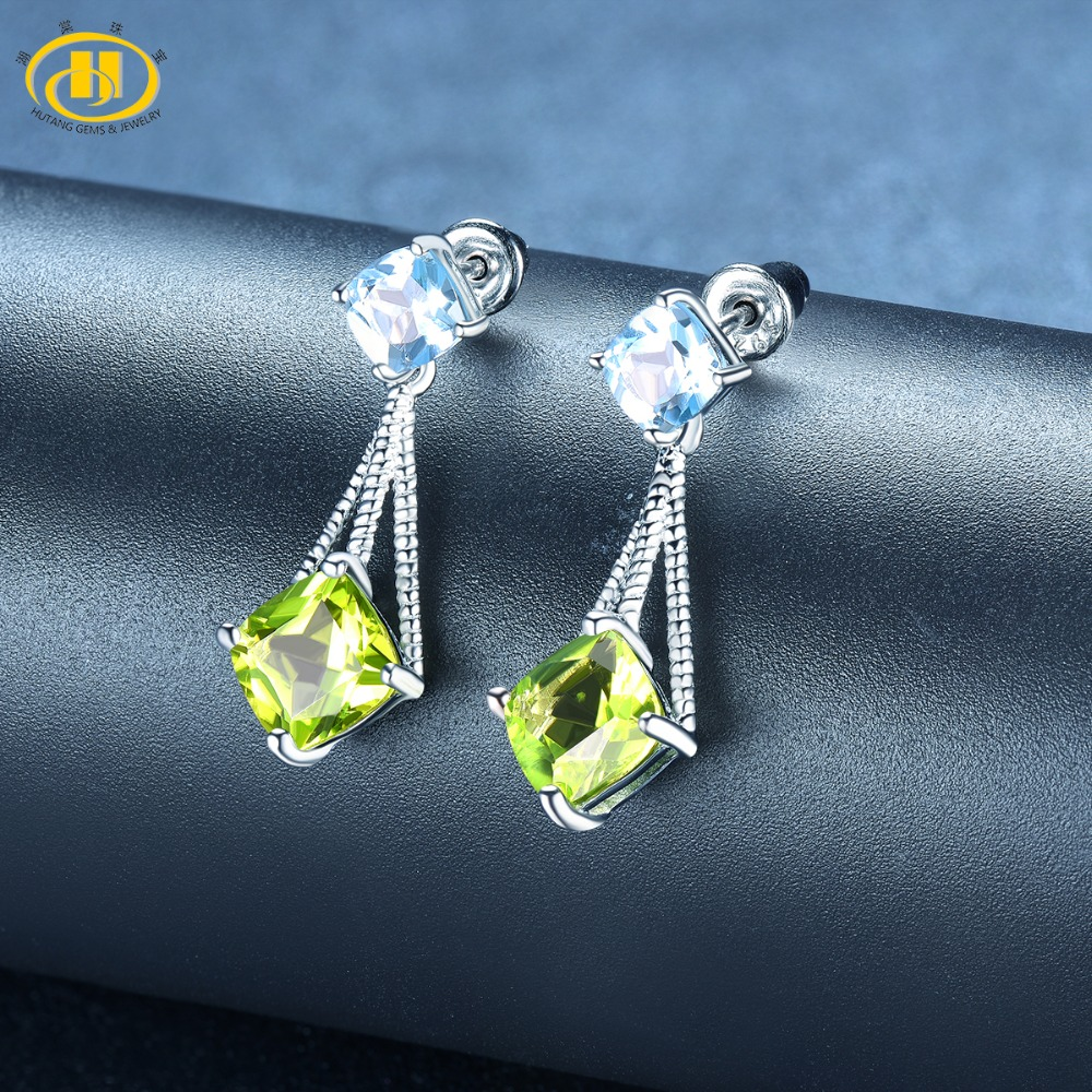 цена Hutang Peridot Stud Earrings Solid 925 Sterling Silver Natural Gemstone Sky Blue Topaz Fine Fashion Stone Jewelry For Women Gift