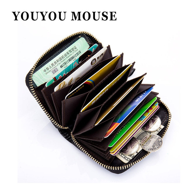 Youyou mouse oil genuine leather unisex card holder wallet rfid youyou mouse oil genuine leather unisex card holder wallet rfid business credit card holders bag men reheart Choice Image