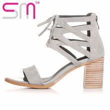 High Quality Genuine Leather Women's Sandals Lace up Cutouts Gladiator Sandals Thick High Heels Summer Shoes Woman Sandalias